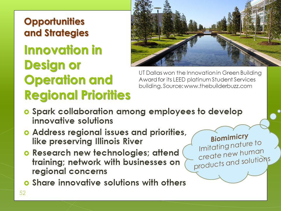 Innovation in Design or Operation and Regional Priorities