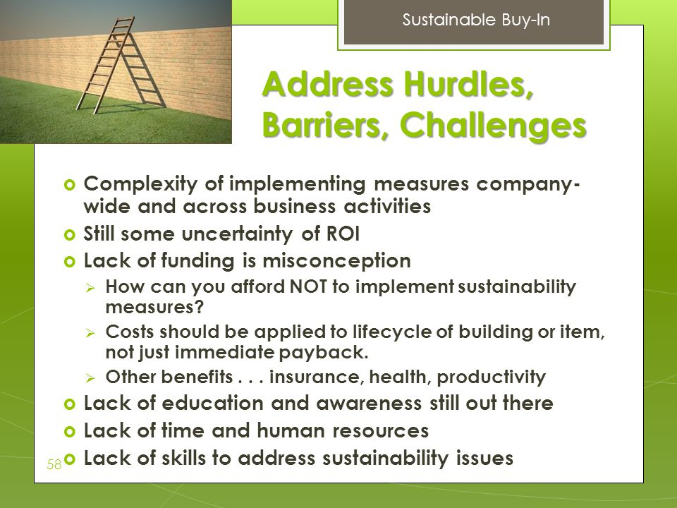 Address Hurdles, Barriers, Challenges