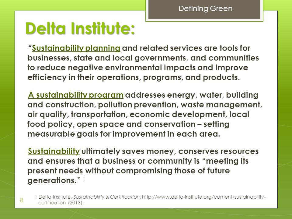 Defining Green Delta Institute: