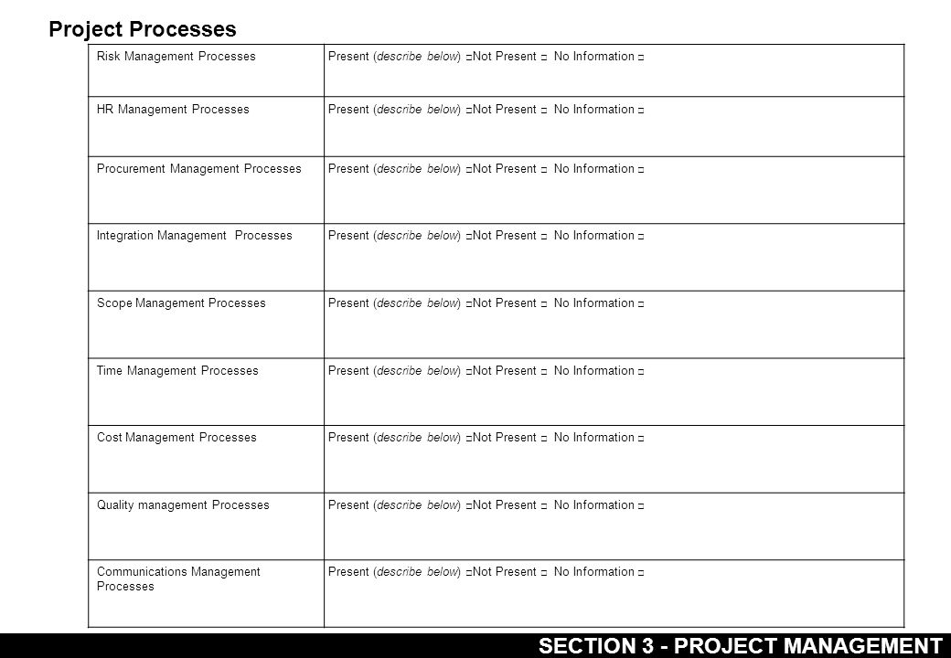 SECTION 3 - PROJECT MANAGEMENT