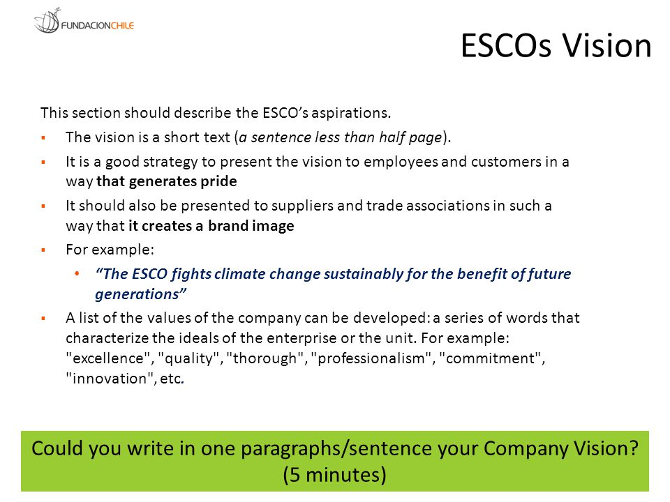 Could you write in one paragraphs/sentence your Company Vision