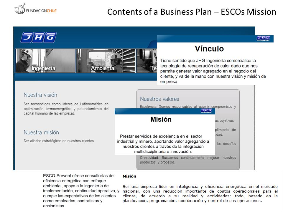 Contents of a Business Plan – ESCOs Mission