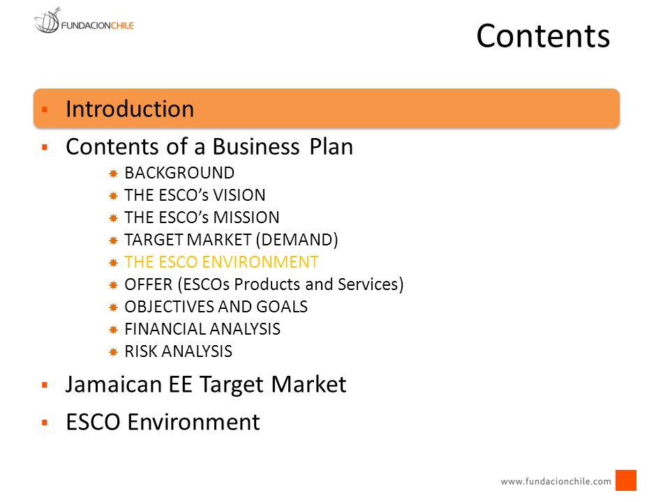 Contents Introduction Contents of a Business Plan