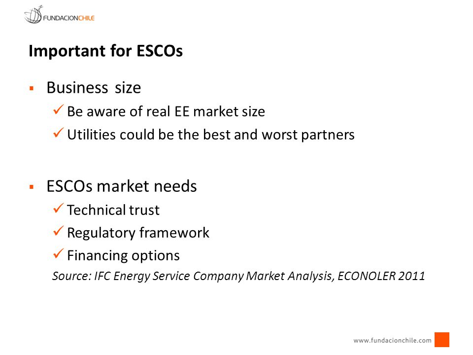 Important for ESCOs Business size ESCOs market needs