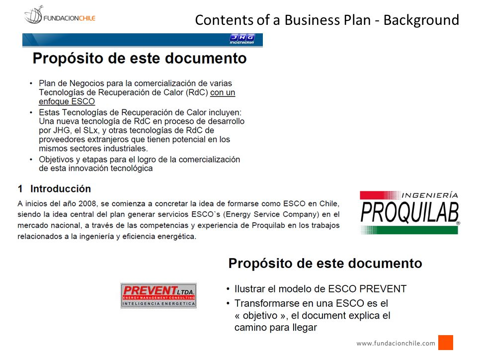 Contents of a Business Plan - Background