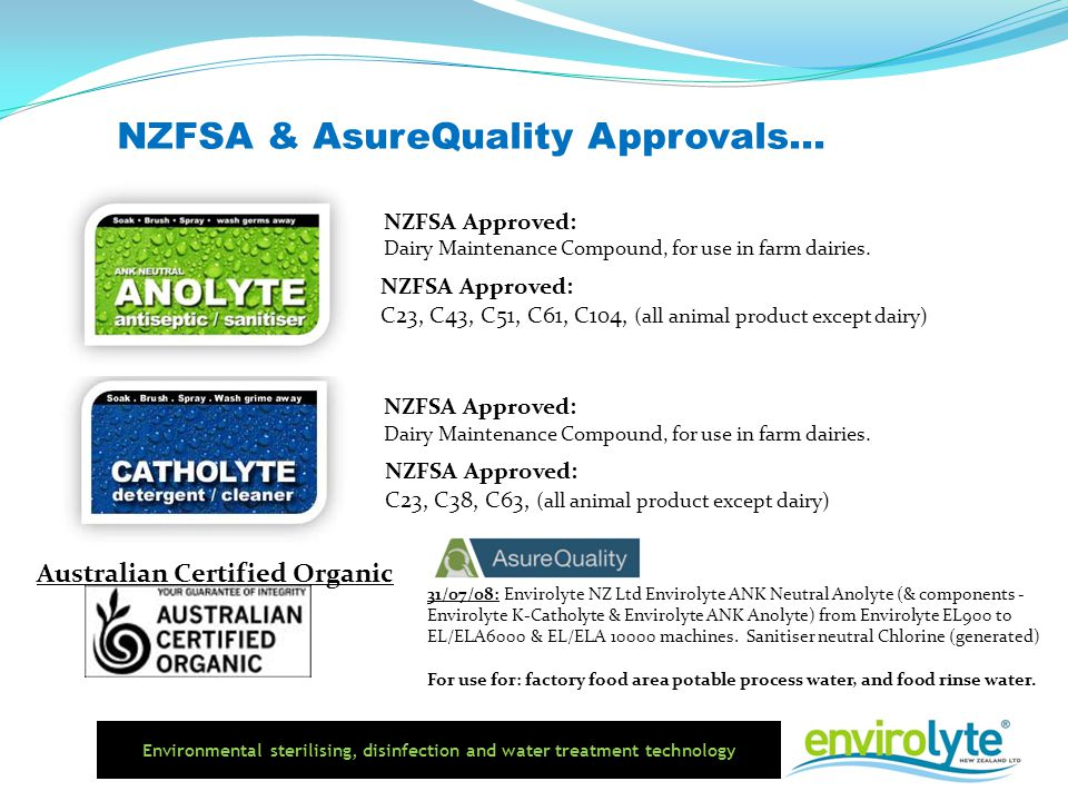 NZFSA & AsureQuality Approvals...