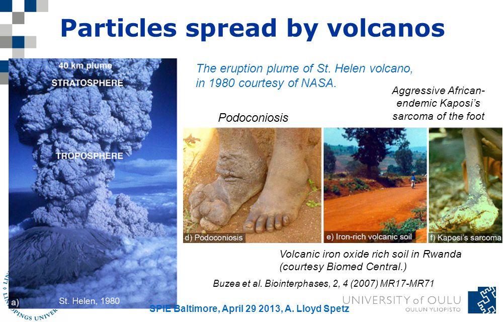 Particles spread by volcanos