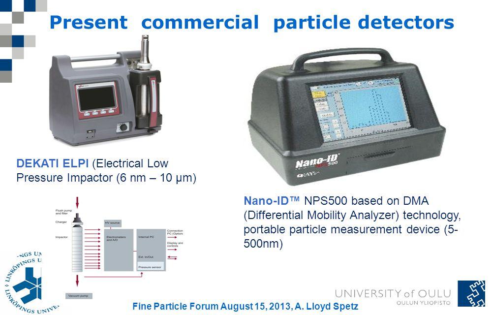 Present commercial particle detectors