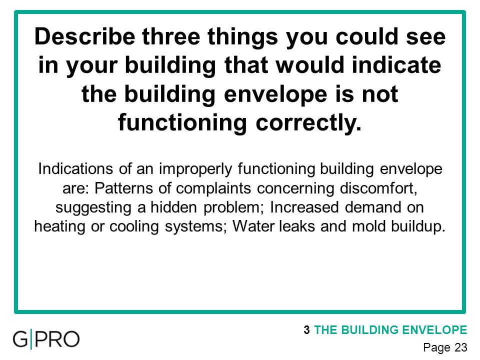 Describe three things you could see in your building that would indicate the building envelope is not functioning correctly.