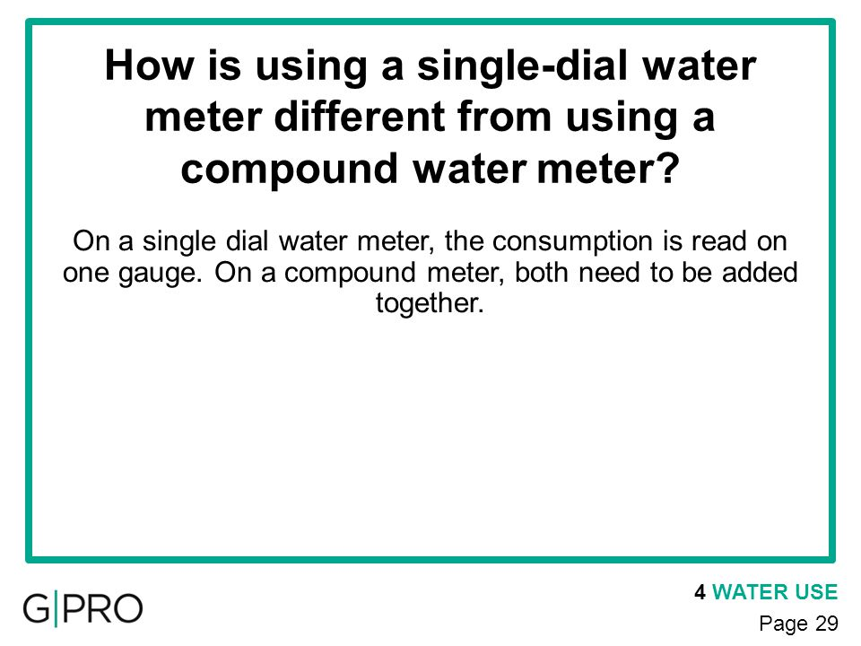 How is using a single-dial water meter different from using a compound water meter