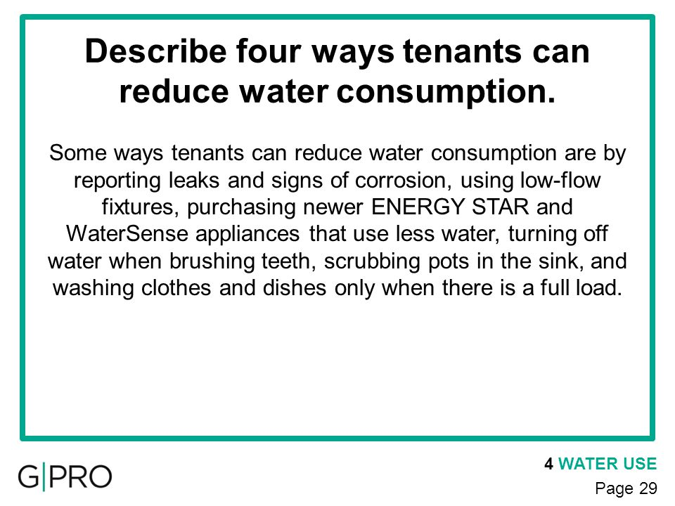 Describe four ways tenants can reduce water consumption.