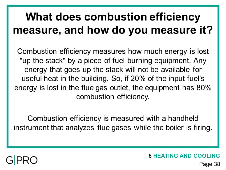 What does combustion efficiency measure, and how do you measure it