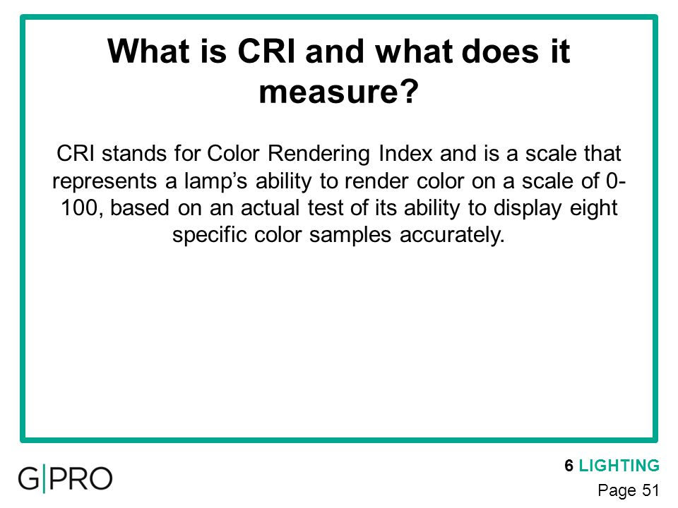 What is CRI and what does it measure
