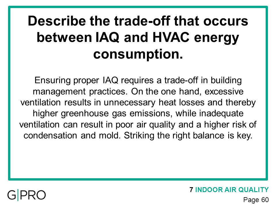 Describe the trade-off that occurs between IAQ and HVAC energy consumption.