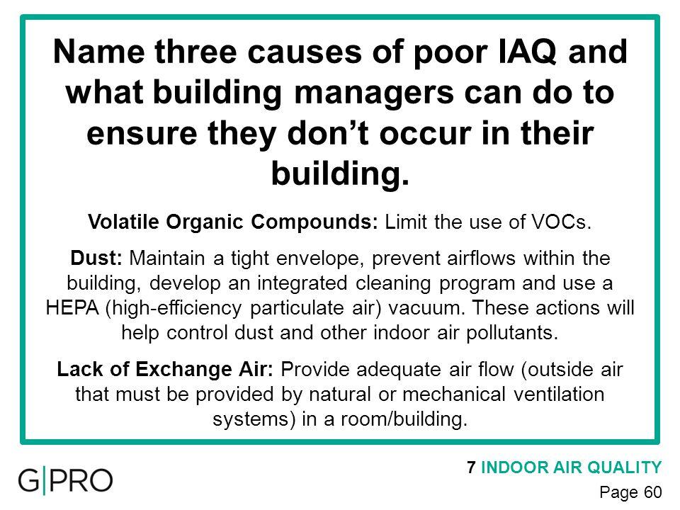 Volatile Organic Compounds: Limit the use of VOCs.