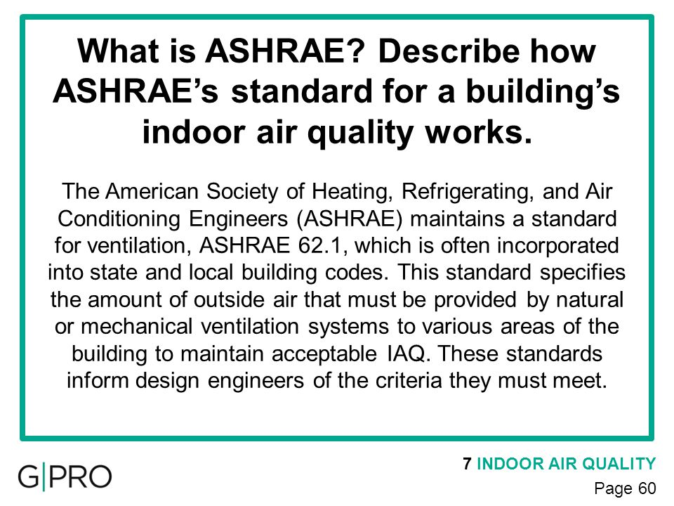 What is ASHRAE Describe how ASHRAE's standard for a building's indoor air quality works.