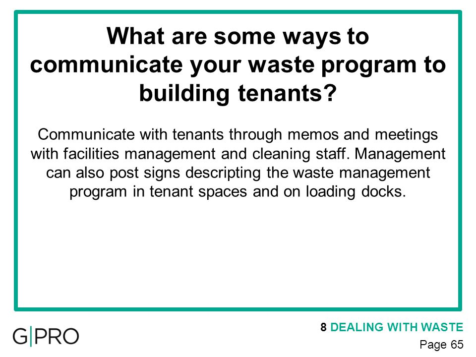 What are some ways to communicate your waste program to building tenants