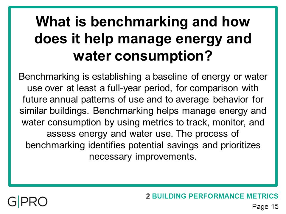 What is benchmarking and how does it help manage energy and water consumption