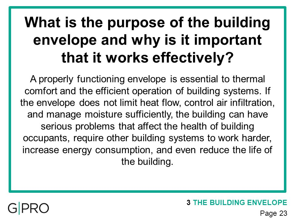 What is the purpose of the building envelope and why is it important that it works effectively
