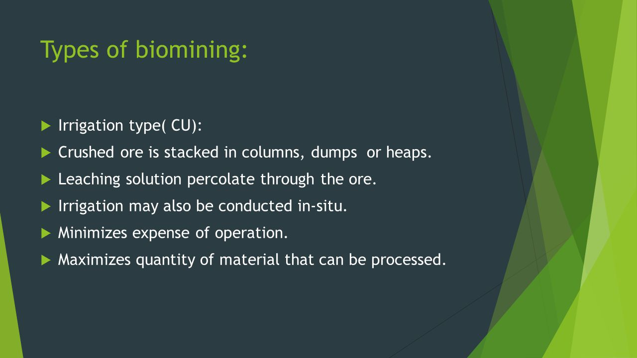 Types of biomining: Irrigation type( CU):