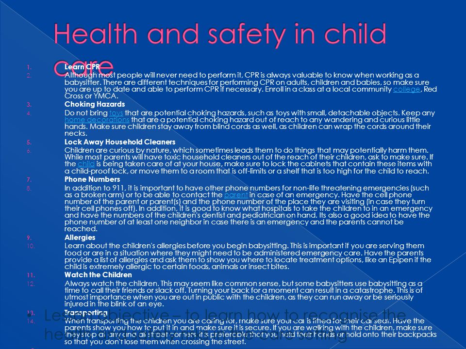 Health and safety in child care
