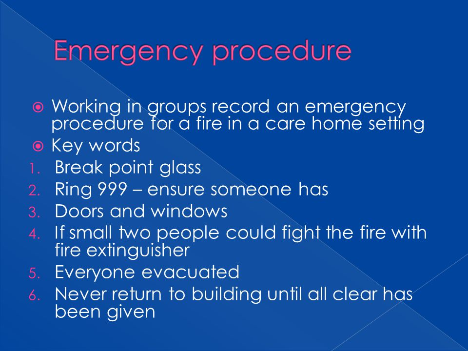 Emergency procedure Working in groups record an emergency procedure for a fire in a care home setting.