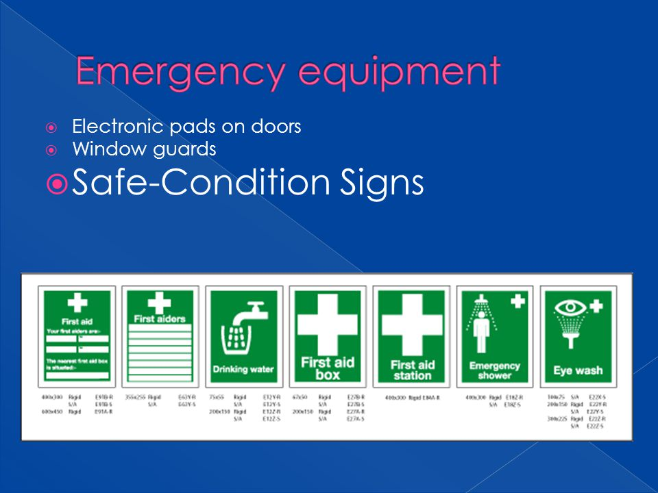 Emergency equipment Safe-Condition Signs Electronic pads on doors