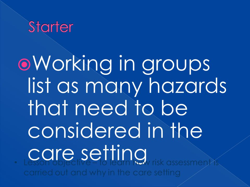 Starter Working in groups list as many hazards that need to be considered in the care setting.