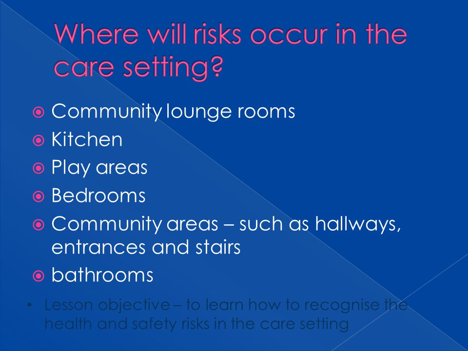 Where will risks occur in the care setting