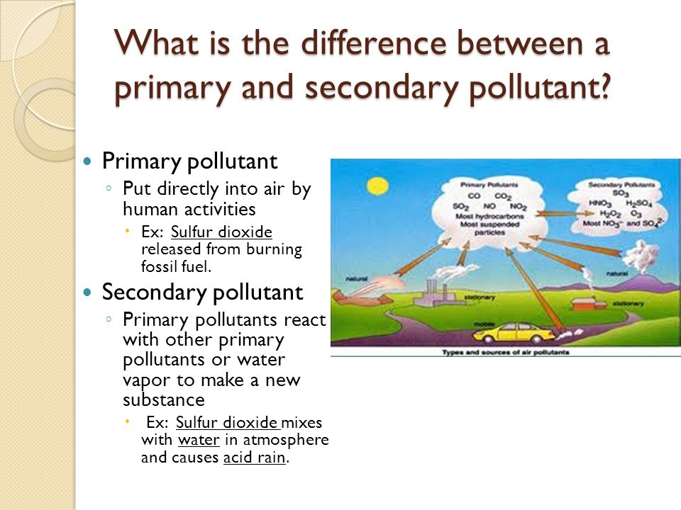 What is the difference between a primary and secondary pollutant