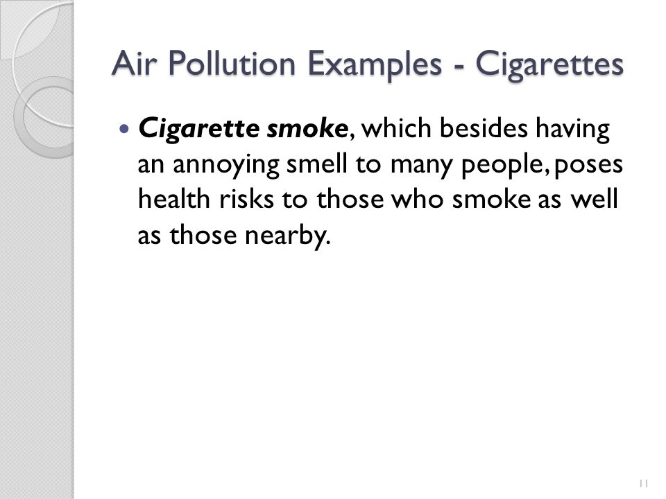 Air Pollution Examples - Cigarettes