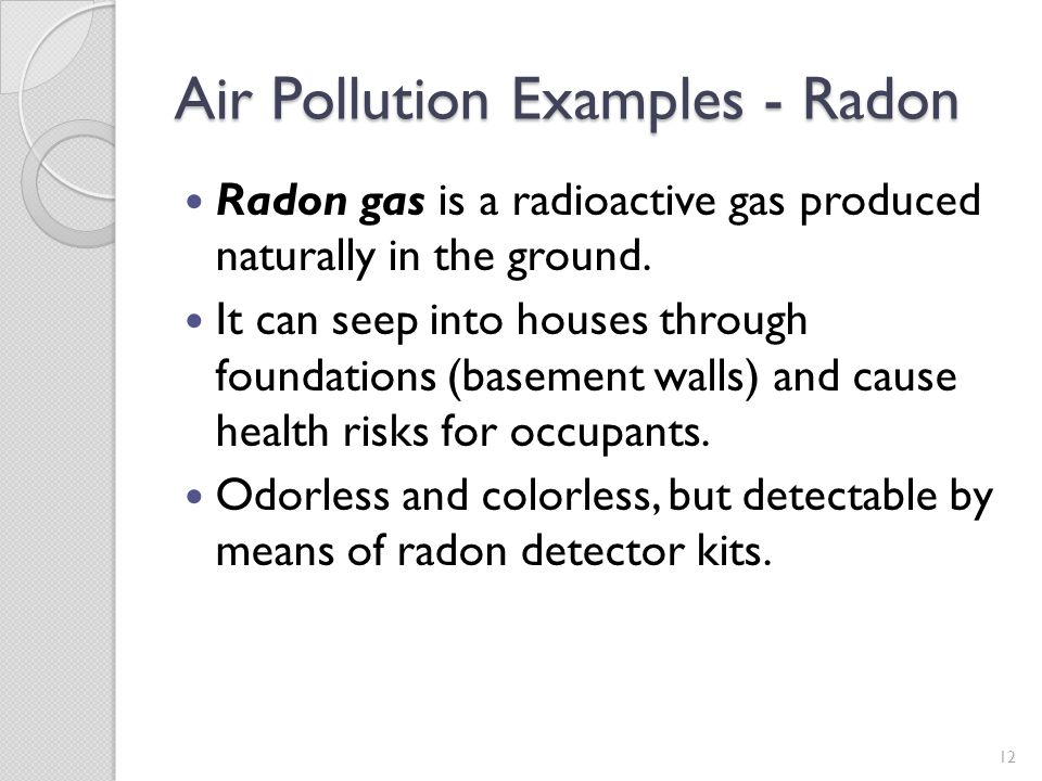 Air Pollution Examples - Radon