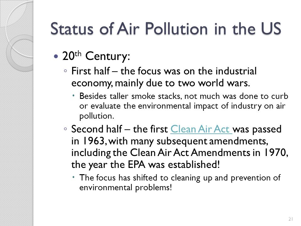 Status of Air Pollution in the US