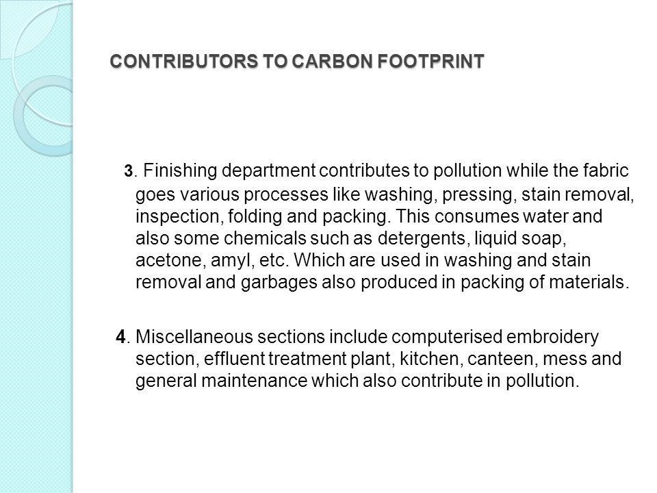 CONTRIBUTORS TO CARBON FOOTPRINT