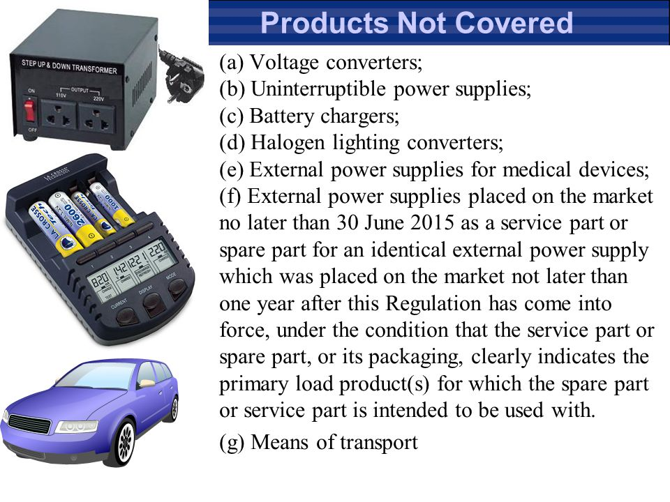 Products Not Covered