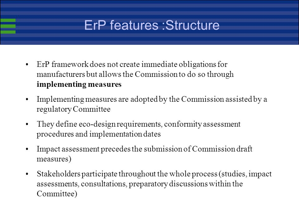 ErP features :Structure