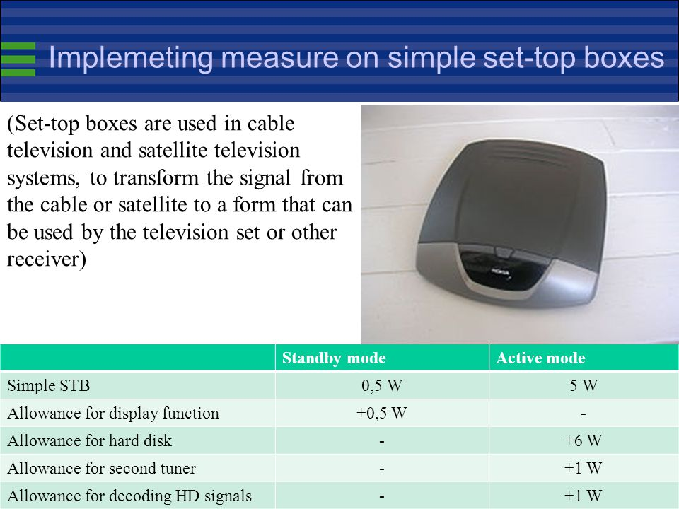 Implemeting measure on simple set-top boxes