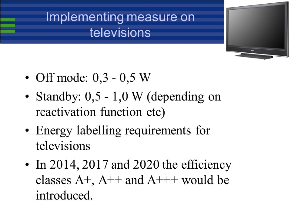 Implementing measure on televisions