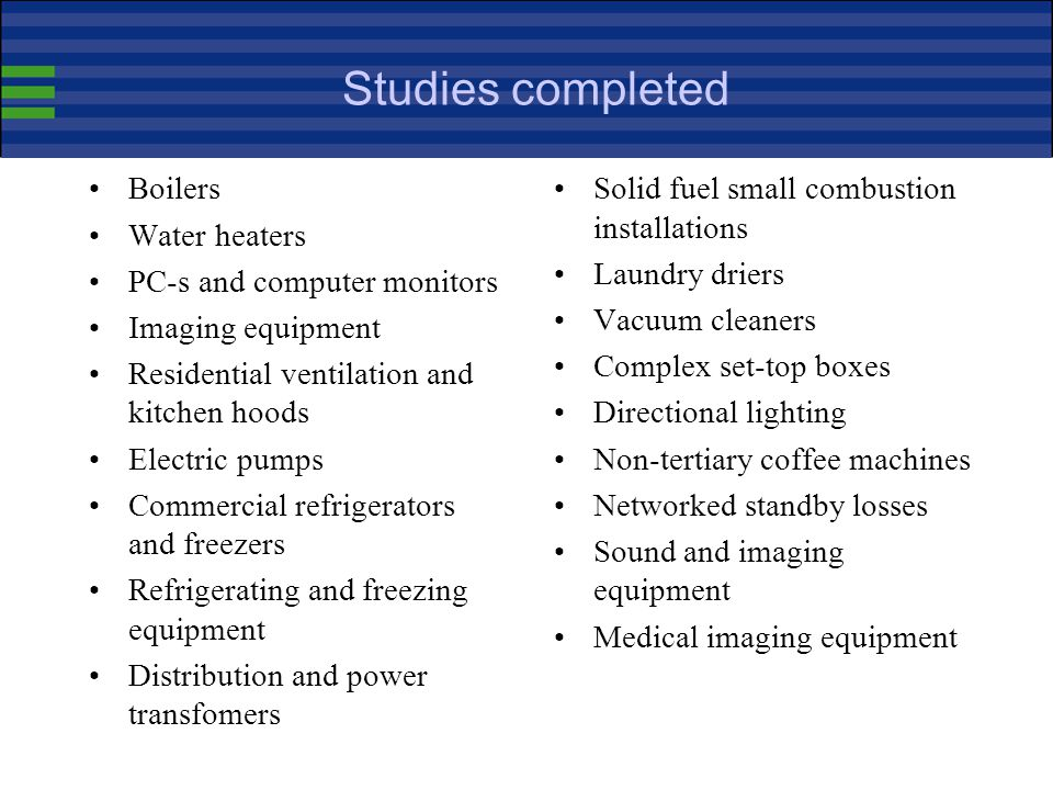 Studies completed Boilers Water heaters PC-s and computer monitors