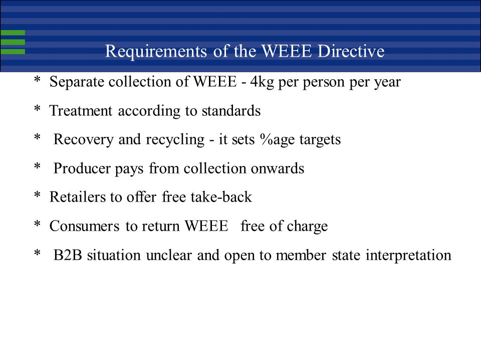 Requirements of the WEEE Directive