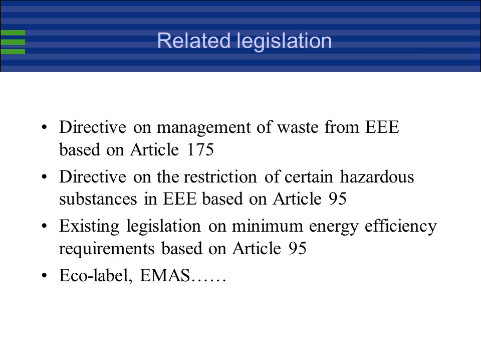 Related legislation Directive on management of waste from EEE based on Article 175.