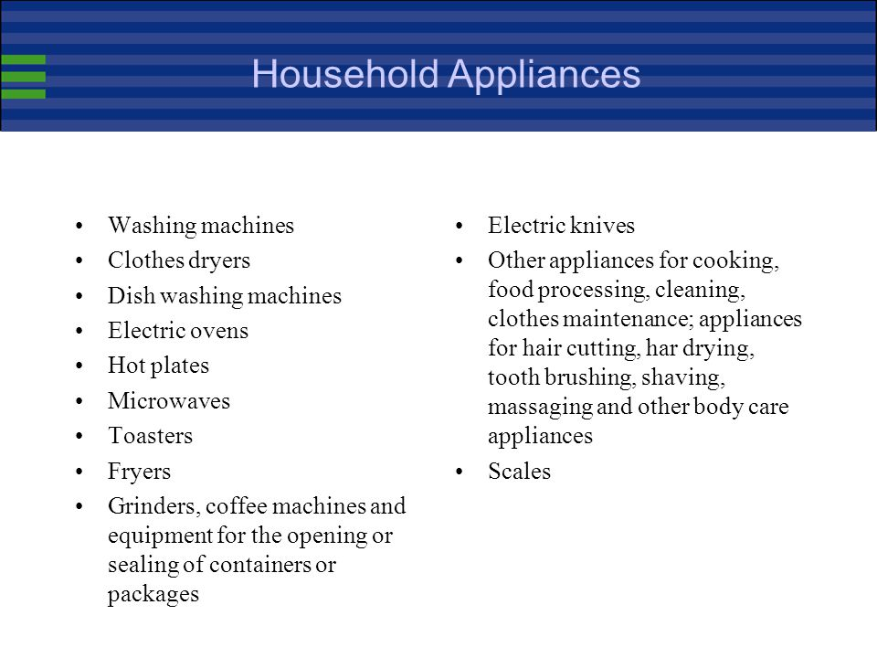 Household Appliances Washing machines Clothes dryers