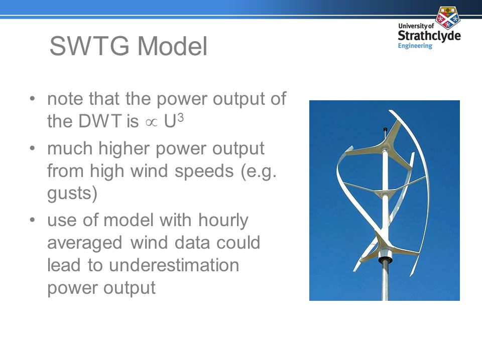 SWTG Model note that the power output of the DWT is  U3