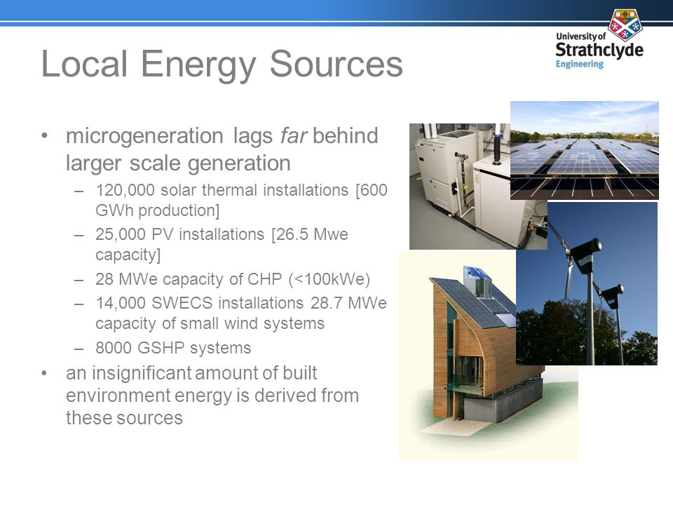 Local Energy Sources microgeneration lags far behind larger scale generation. 120,000 solar thermal installations [600 GWh production]