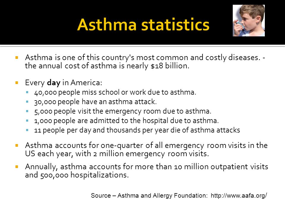 Asthma statistics Asthma is one of this country s most common and costly diseases. - the annual cost of asthma is nearly $18 billion.
