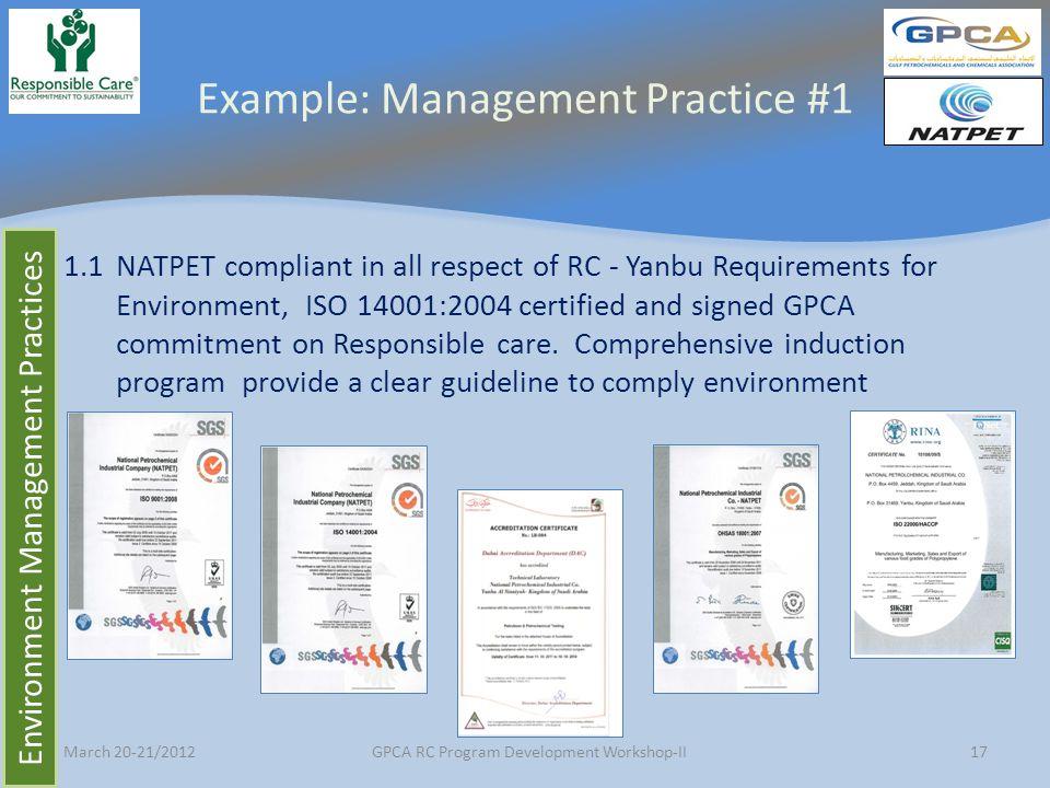 Example: Management Practice #1