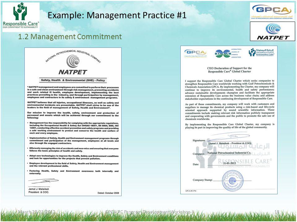 1.2 Management Commitment
