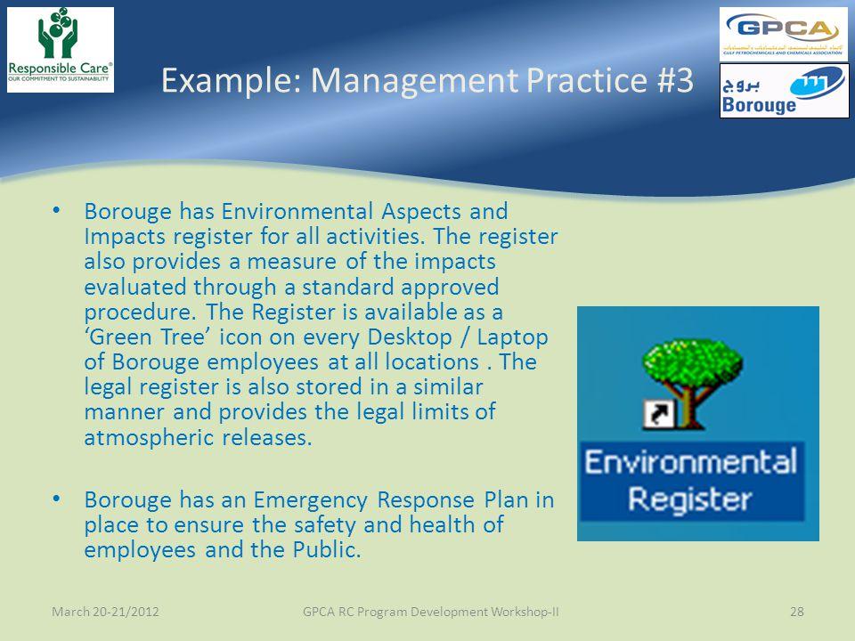 Example: Management Practice #3