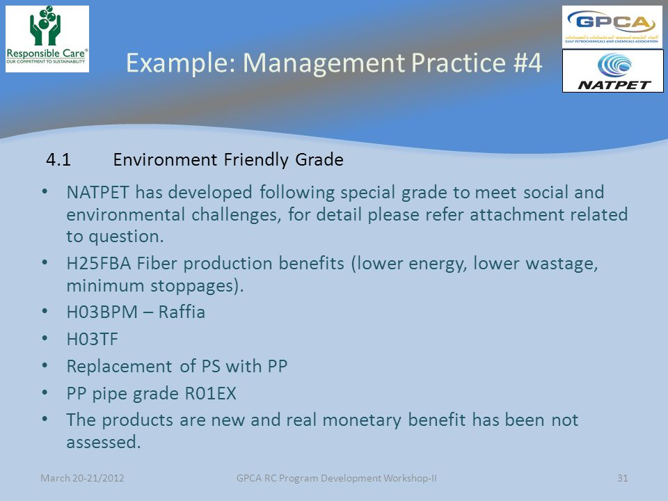 Example: Management Practice #4
