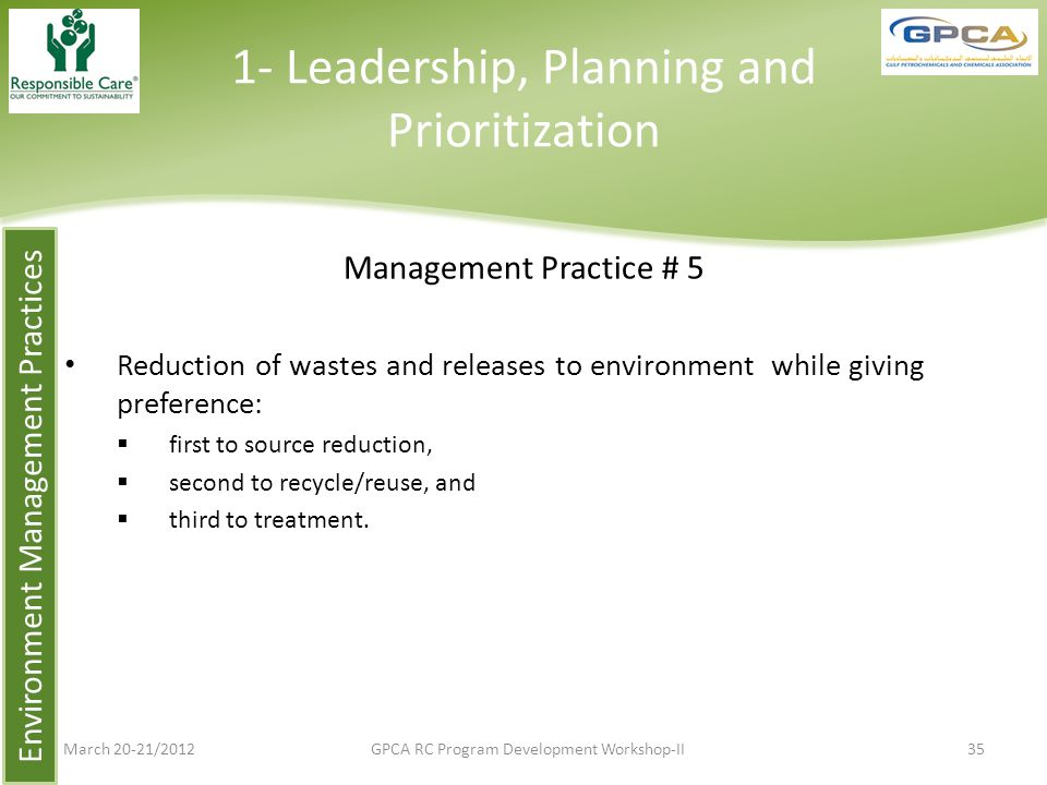 1- Leadership, Planning and Prioritization